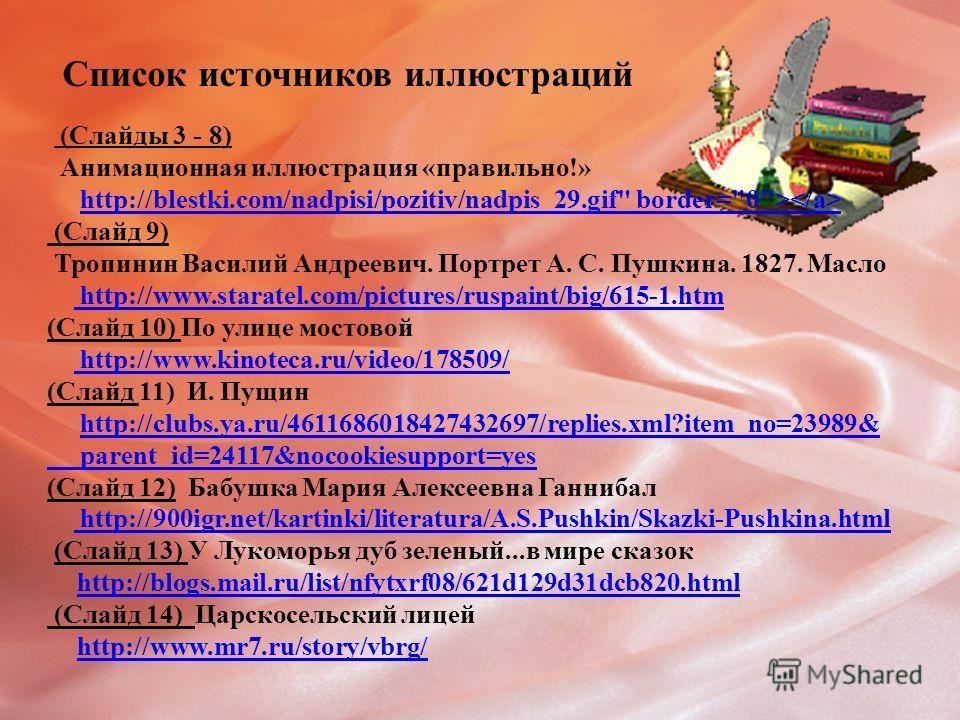 Список источников иллюстраций (Слайды 3 - 8) Анимационная иллюстрация «правильно!» http://blestki.com/nadpisi/pozitiv/nadpis_29.gif