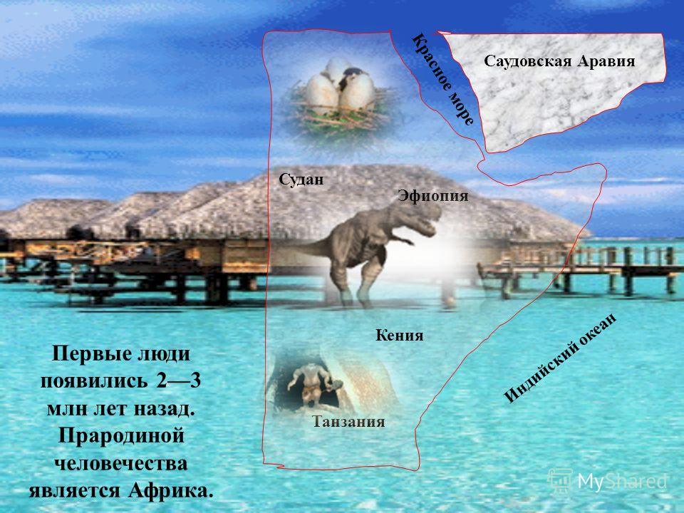 Саудовская Аравия Кения Танзания Эфиопия Судан Индийский океан Красное море Первые люди появились 23 млн лет назад. Прародиной человечества является Африка.