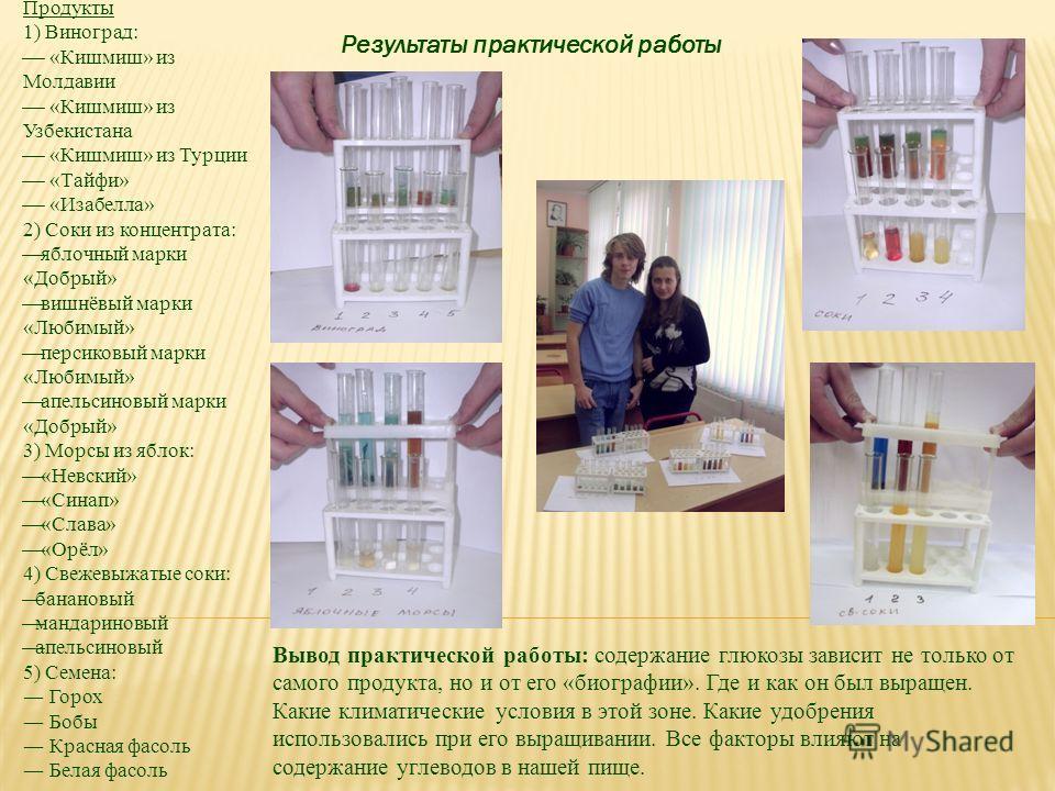 Результаты практической работы Продукты 1) Виноград: «Кишмиш» из Молдавии «Кишмиш» из Узбекистана «Кишмиш» из Турции «Тайфи» «Изабелла» 2) Соки из концентрата: яблочный марки «Добрый» вишнёвый марки «Любимый» персиковый марки «Любимый» апельсиновый м
