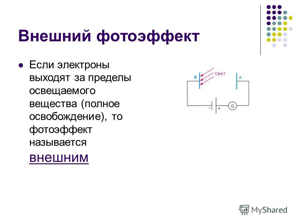 Внешний фотоэффект Если электроны выходят за пределы освещаемого вещества (полное освобождение), то фотоэффект называется внешним
