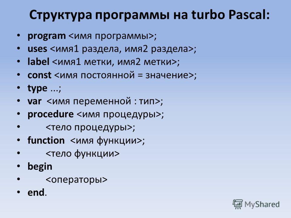 Структура программы на turbo Pascal: program ; uses ; label ; const ; type...; var ; procedure ; ; function ; begin end.