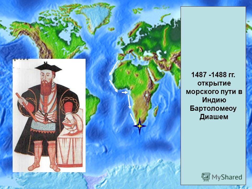 1487 -1488 гг. открытие морского пути в Индию Бартоломеоу Диашем