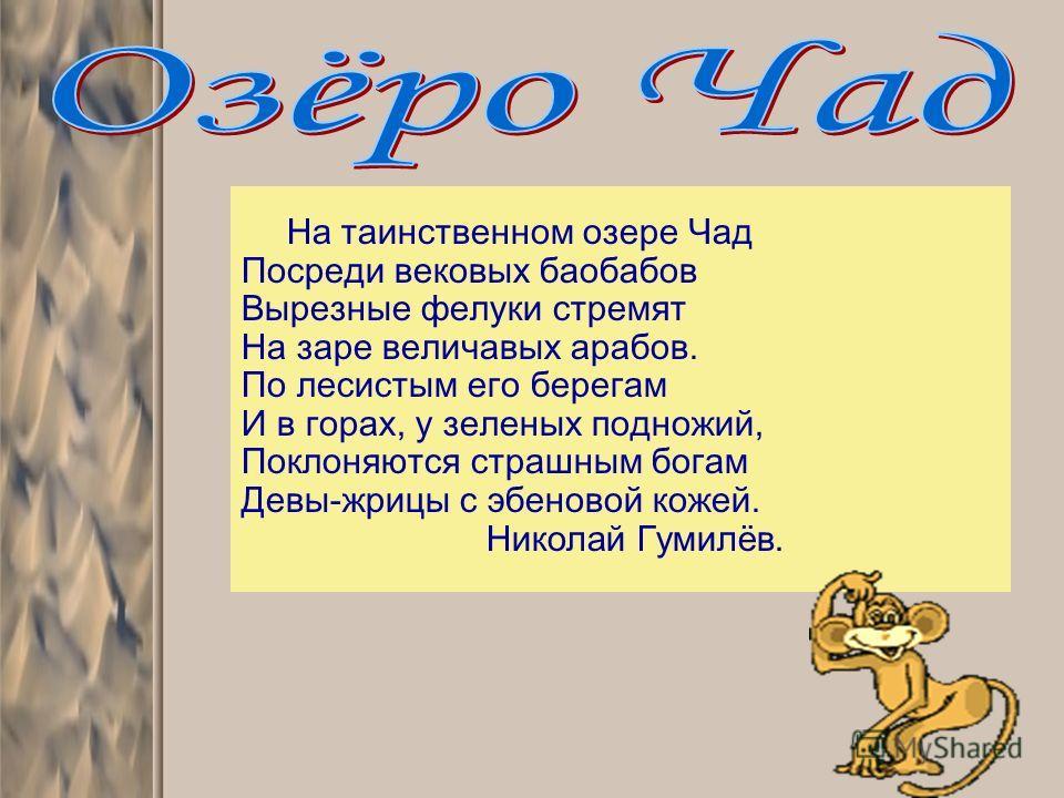 На таинственном озере Чад Посреди вековых баобабов Вырезные фелуки стремят На заре величавых арабов. По лесистым его берегам И в горах, у зеленых подножий, Поклоняются страшным богам Девы-жрицы с эбеновой кожей. Николай Гумилёв.