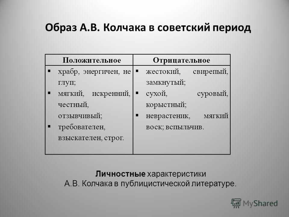 Образ А.В. Колчака в советский период ПоложительноеОтрицательное храбр, энергичен, не глуп; мягкий, искренний, честный, отзывчивый; требователен, взыскателен, строг. жестокий, свирепый, замкнутый; сухой, суровый, корыстный; неврастеник, мягкий воск;