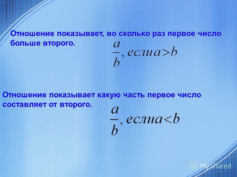 Отношение показывает, во сколько раз первое число больше второго. Отношение показывает какую часть первое число составляет от второго.