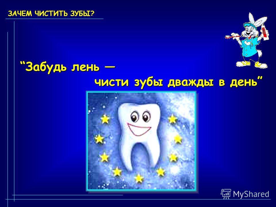 ЗАЧЕМ ЧИСТИТЬ ЗУБЫ? Забудь лень Забудь лень чисти зубы дважды в день чисти зубы дважды в день