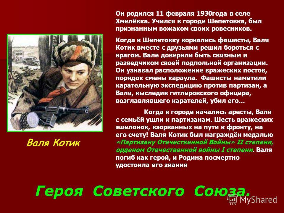 Валя Котик Он родился 11 февраля 1930года в селе Хмелёвка. Учился в городе Шепетовка, был признанным вожаком своих ровесников. Когда в Шепетовку ворвались фашисты, Валя Котик вместе с друзьями решил бороться с врагом. Вале доверили быть связным и раз