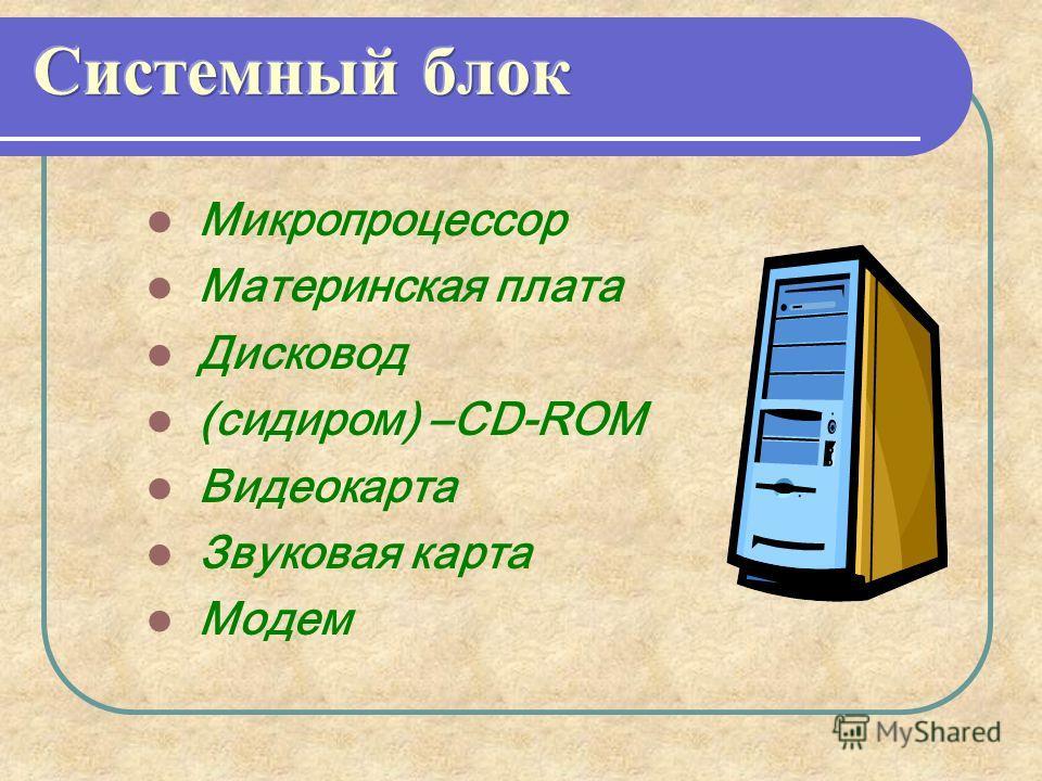 Микропроцессор Материнская плата Дисковод (сидиром) –CD-ROM Видеокарта Звуковая карта Модем