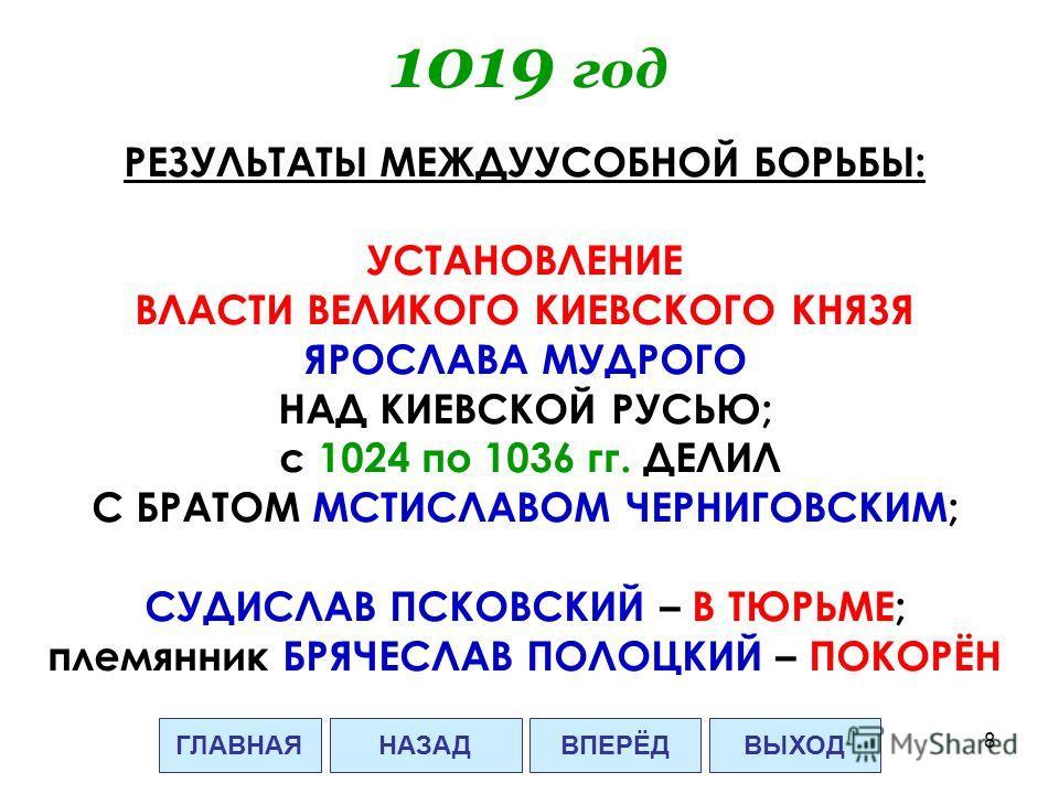 8 1019 год РЕЗУЛЬТАТЫ МЕЖДУУСОБНОЙ БОРЬБЫ: УСТАНОВЛЕНИЕ ВЛАСТИ ВЕЛИКОГО КИЕВСКОГО КНЯЗЯ ЯРОСЛАВА МУДРОГО НАД КИЕВСКОЙ РУСЬЮ; с 1024 по 1036 гг. ДЕЛИЛ С БРАТОМ МСТИСЛАВОМ ЧЕРНИГОВСКИМ; СУДИСЛАВ ПСКОВСКИЙ – В ТЮРЬМЕ; племянник БРЯЧЕСЛАВ ПОЛОЦКИЙ – ПОКО