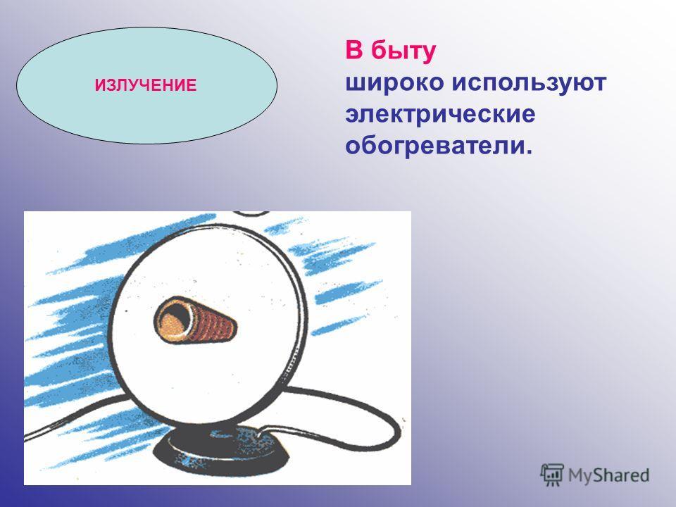 В быту широко используют электрические обогреватели. ИЗЛУЧЕНИЕ