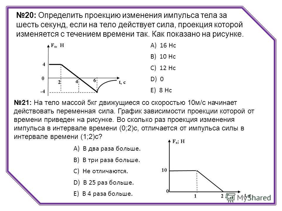 20: Определить проекцию изменения импульса тела за шесть секунд, если на тело действует сила, проекция которой изменяется с течением времени так. Как показано на рисунке. А) 16 Hc B) 10 Нс C) 12 Hc D) 0 E) 8 Hc 21: На тело массой 5кг движущиеся со ск