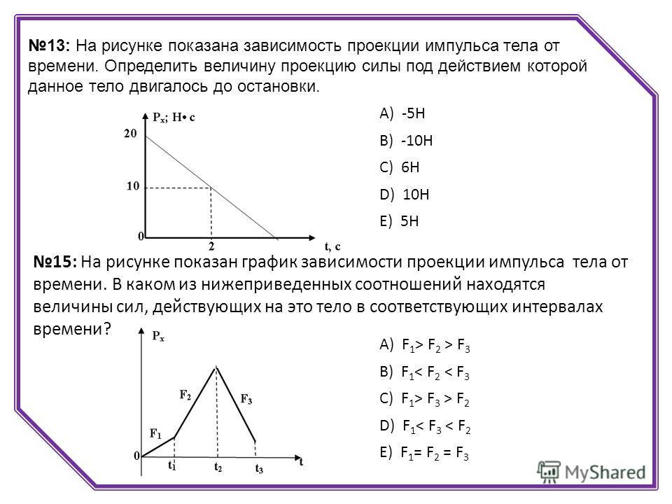 13: На рисунке показана зависимость проекции импульса тела от времени. Определить величину проекцию силы под действием которой данное тело двигалось до остановки. А) -5Н B) -10Н C) 6Н D) 10Н E) 5Н 15: На рисунке показан график зависимости проекции им