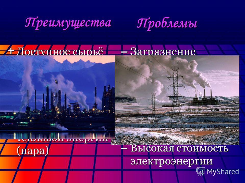 Преимущества + Доступное сырьё + Большие (пока) запасы сырья + Высокий КПД (у ТЭЦ – до 70%). + Использование тепловой энергии (пара) – Загрязнение окружающей среды (очень большие выбросы в атмосферу) – Исчерпание топлива (в перспективе) – Высокая сто