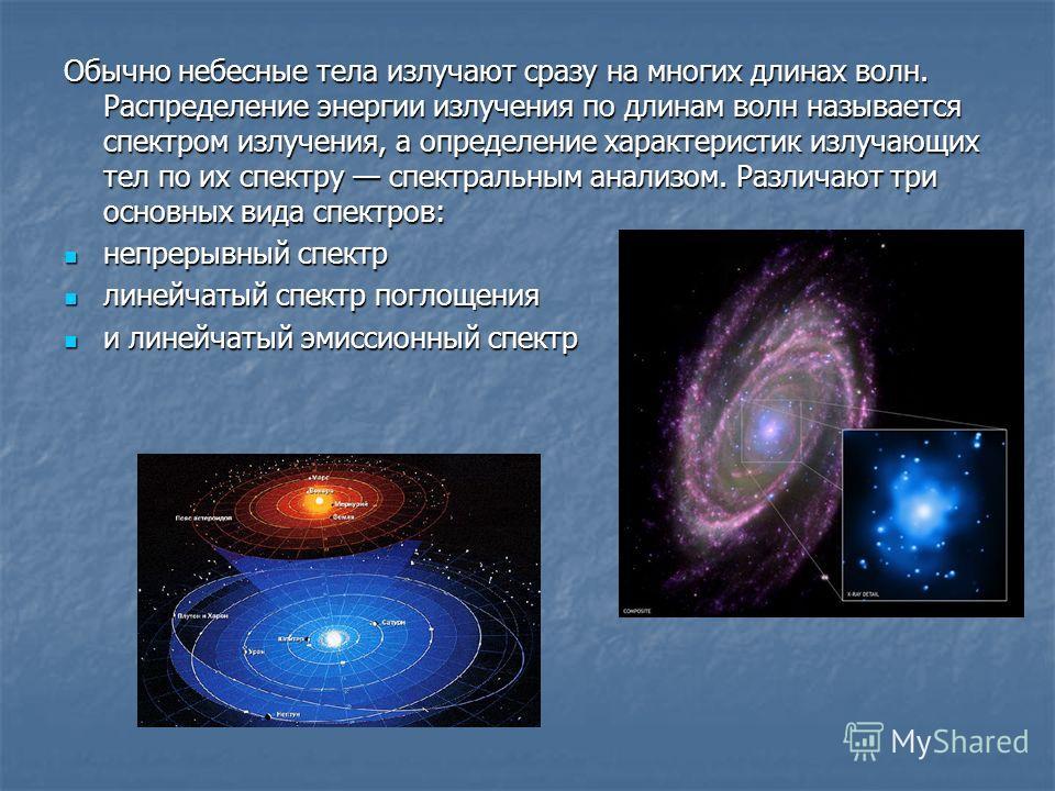 Обычно небесные тела излучают сразу на многих длинах волн. Распределение энергии излучения по длинам волн называется спектром излучения, а определение характеристик излучающих тел по их спектру спектральным анализом. Различают три основных вида спект