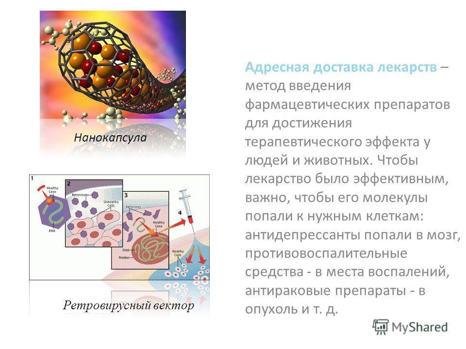 Адресная доставка лекарств – метод введения фармацевтических препаратов для достижения терапевтического эффекта у людей и животных. Чтобы лекарство было эффективным, важно, чтобы его молекулы попали к нужным клеткам: антидепрессанты попали в мозг, пр