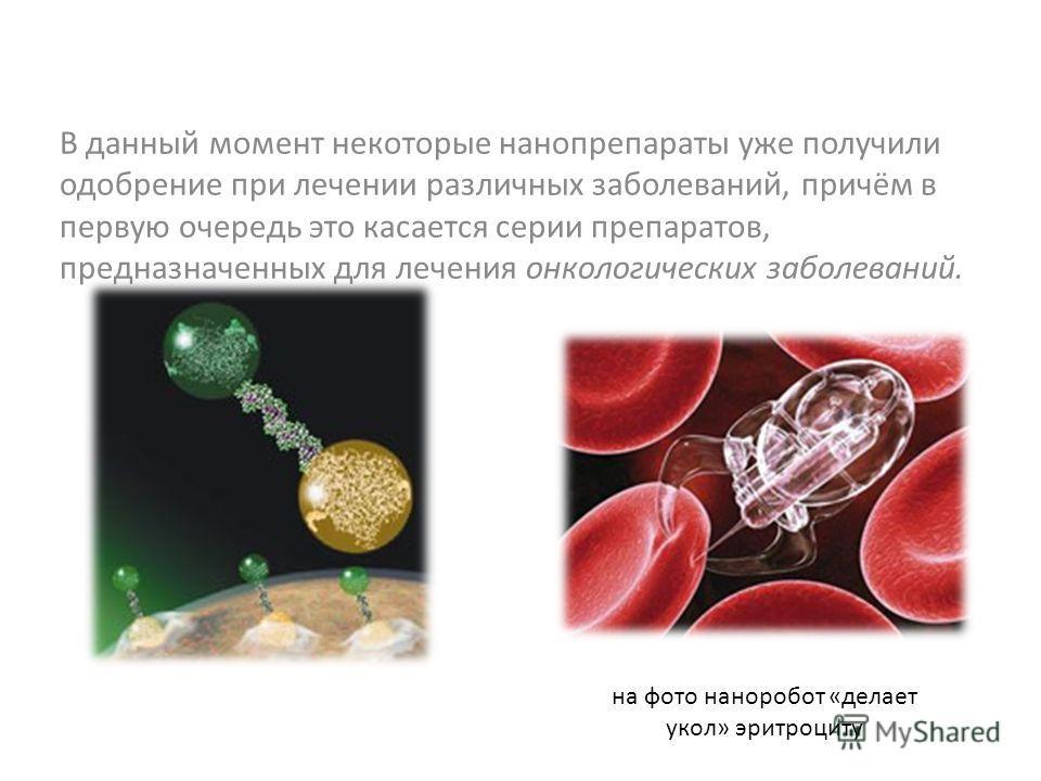 В данный момент некоторые нанопрепараты уже получили одобрение при лечении различных заболеваний, причём в первую очередь это касается серии препаратов, предназначенных для лечения онкологических заболеваний. на фото наноробот «делает укол» эритроцит