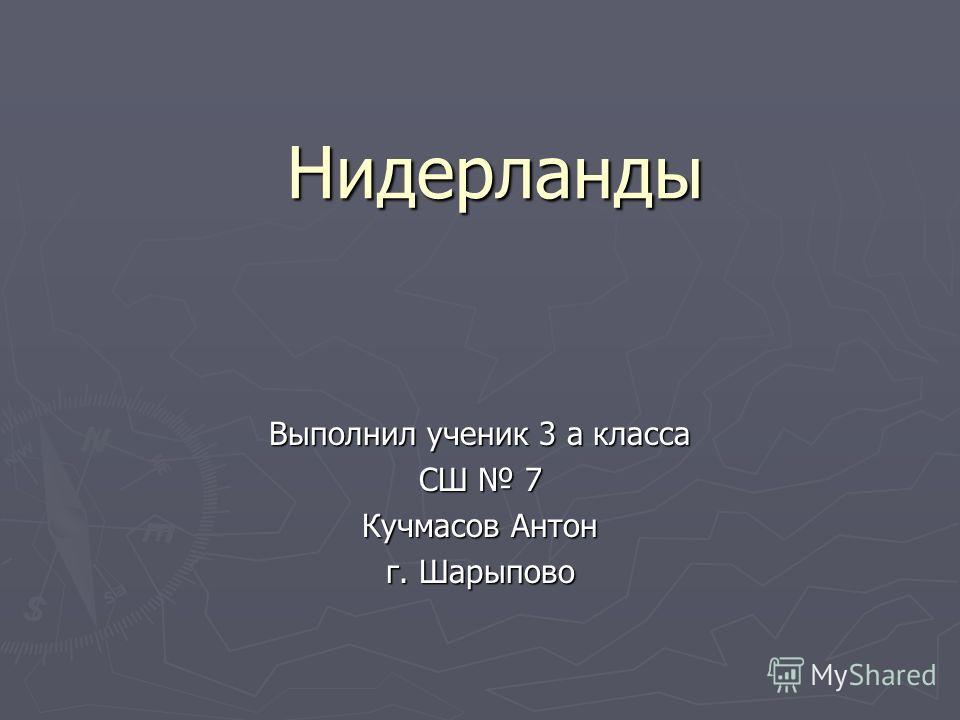 Нидерланды Выполнил ученик 3 а класса СШ 7 Кучмасов Антон г. Шарыпово