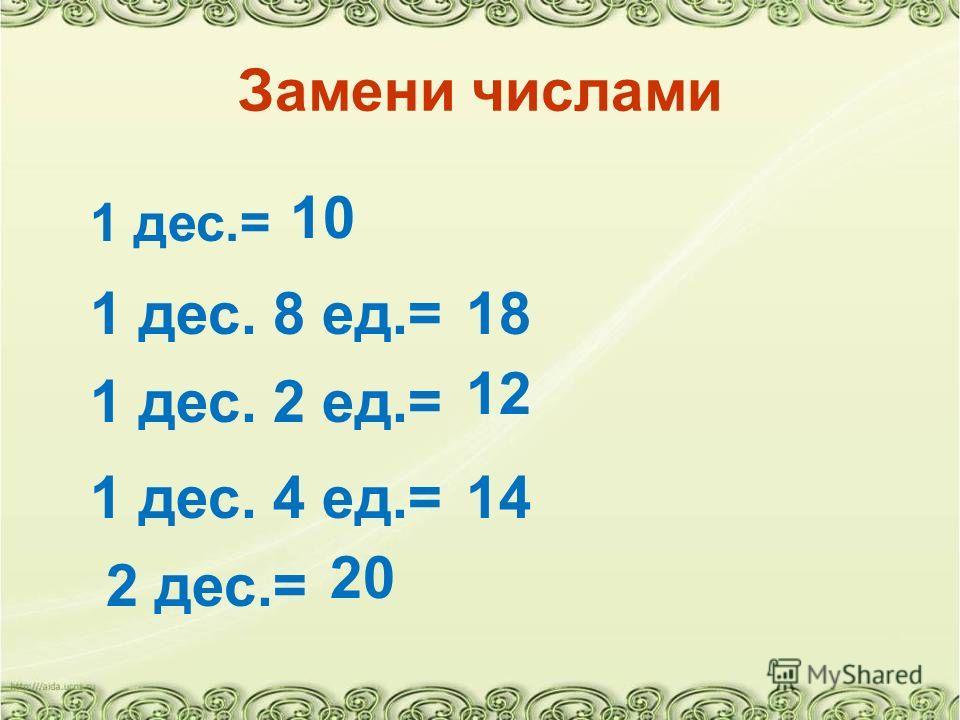 Замени числами 1 дес.= 1 дес. 8 ед.= 10 18 1 дес. 2 ед.= 12 1 дес. 4 ед.=14 2 дес.= 20