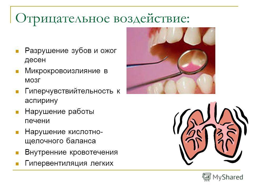 Отрицательное воздействие: Разрушение зубов и ожог десен Микрокровоизлияние в мозг Гиперчувствийтельность к аспирину Нарушение работы печени Нарушение кислотно- щелочного баланса Внутренние кровотечения Гипервентиляция легких