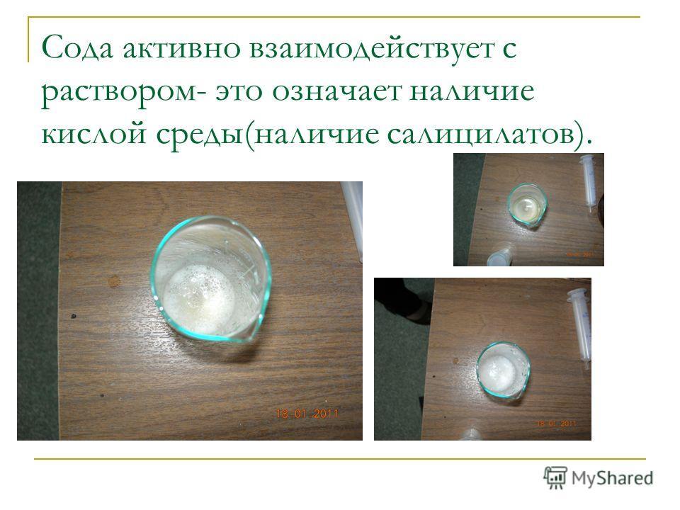 Сода активно взаимодействует с раствором- это означает наличие кислой среды(наличие салицилатов).
