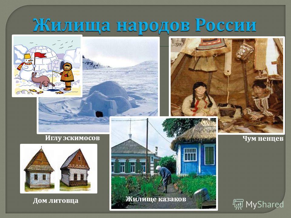 Иглу эскимосов Чум ненцев Дом литовца Жилище казаков