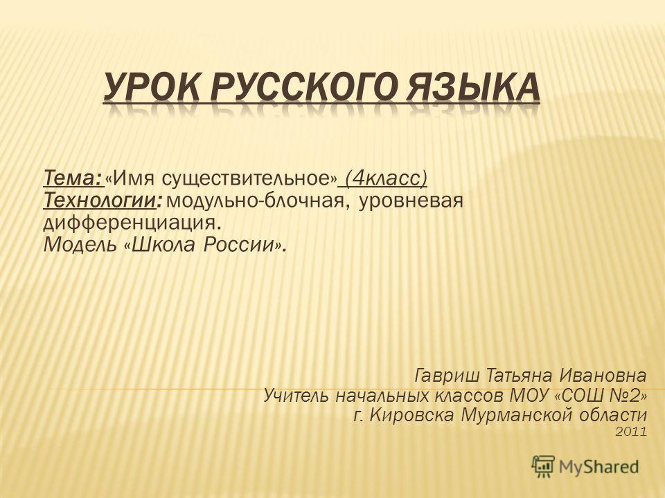 Тема: «Имя существительное» (4класс) Технологии: модульно-блочная, уровневая дифференциация. Модель «Школа России». Гавриш Татьяна Ивановна Учитель на
