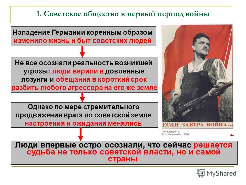 1. Советское общество в первый период войны Нападение Германии коренным образом изменило жизнь и быт советских людей Не все осознали реальность возникшей угрозы: люди верили в довоенные лозунги и обещания в короткий срок разбить любого агрессора на е