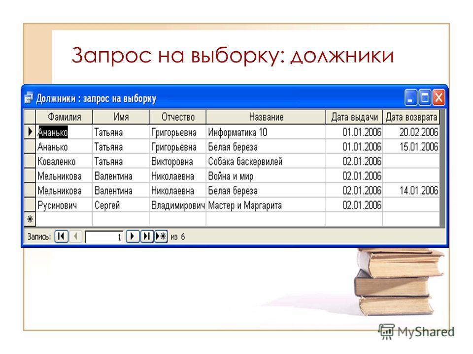 Запрос на выборку: должники