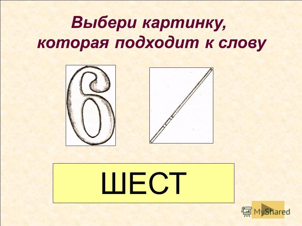 Выбери картинку, которая подходит к слову ШЕСТЬ