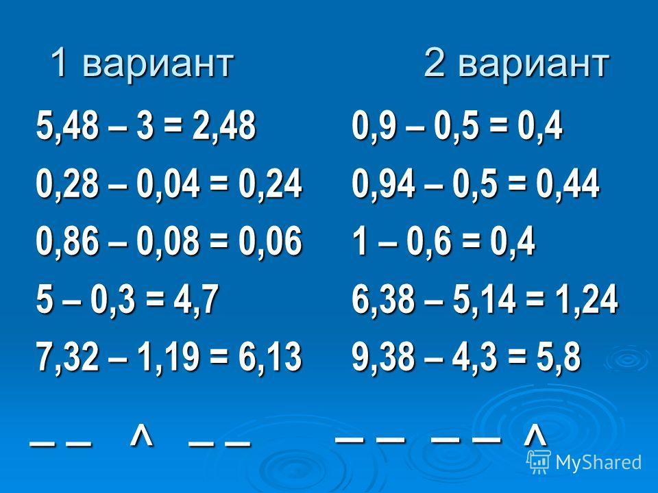 5,48 – 3 = 2,48 0,28 – 0,04 = 0,24 0,86 – 0,08 = 0,06 5 – 0,3 = 4,7 7,32 – 1,19 = 6,13 0,9 – 0,5 = 0,4 0,94 – 0,5 = 0,44 1 – 0,6 = 0,4 6,38 – 5,14 = 1,24 9,38 – 4,3 = 5,8 ^ _ _ _ _ ^ 1 вариант 2 вариант