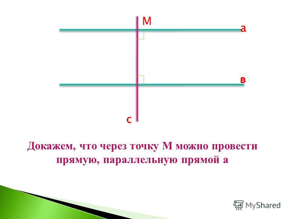 Докажем, что через точку М можно провести прямую, параллельную прямой а М с а в
