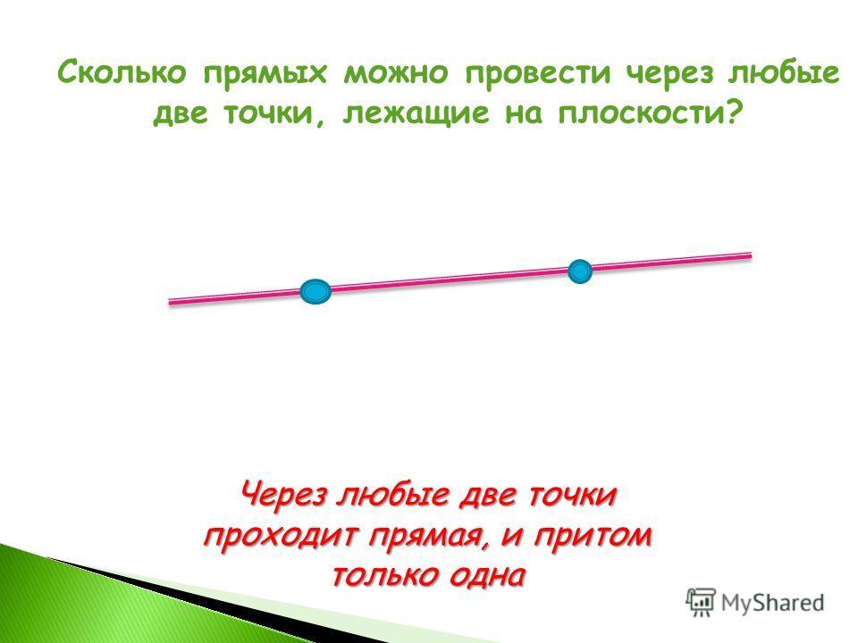 Сколько прямых можно провести через любые две точки, лежащие на плоскости? Через любые две точки проходит прямая, и притом только одна