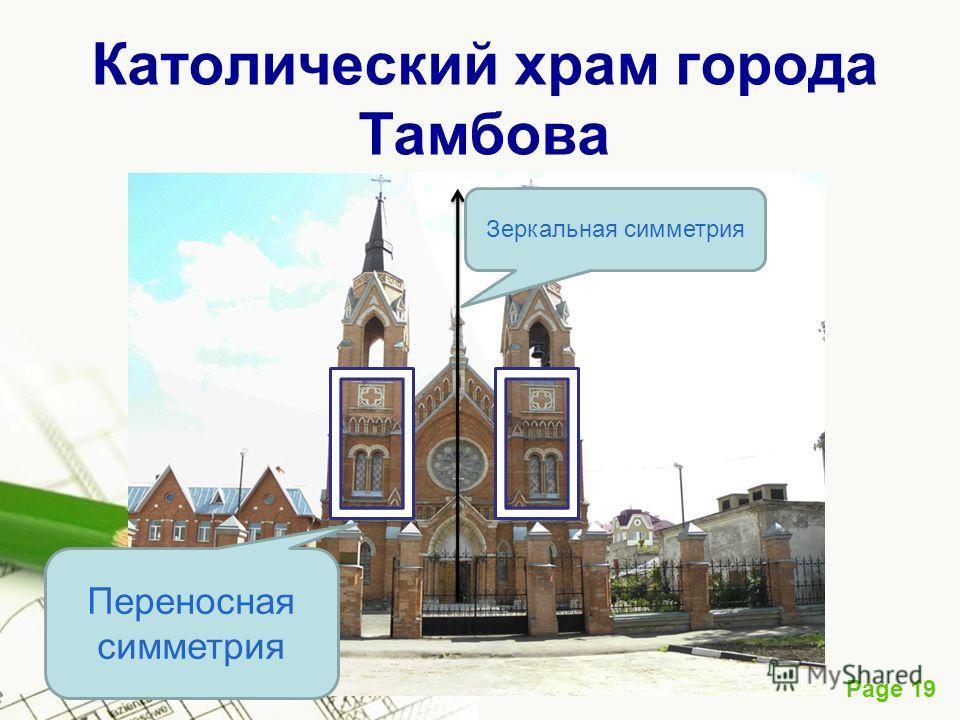 Page 19 Католический храм города Тамбова Зеркальная симметрия Переносная симметрия