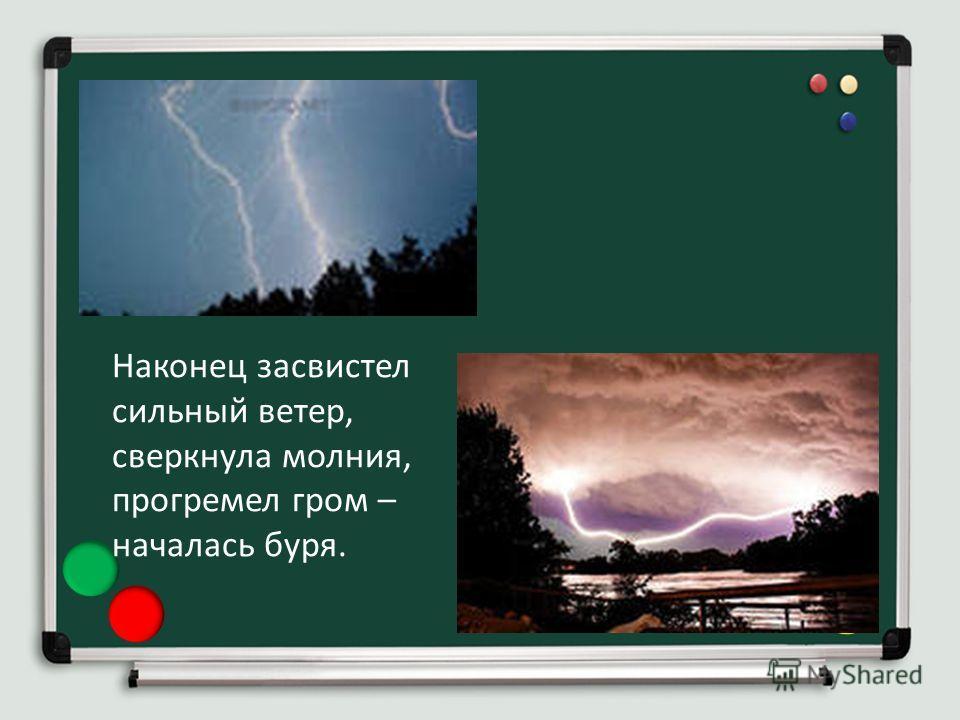 Наконец засвистел сильный ветер, сверкнула молния, прогремел гром – началась буря.