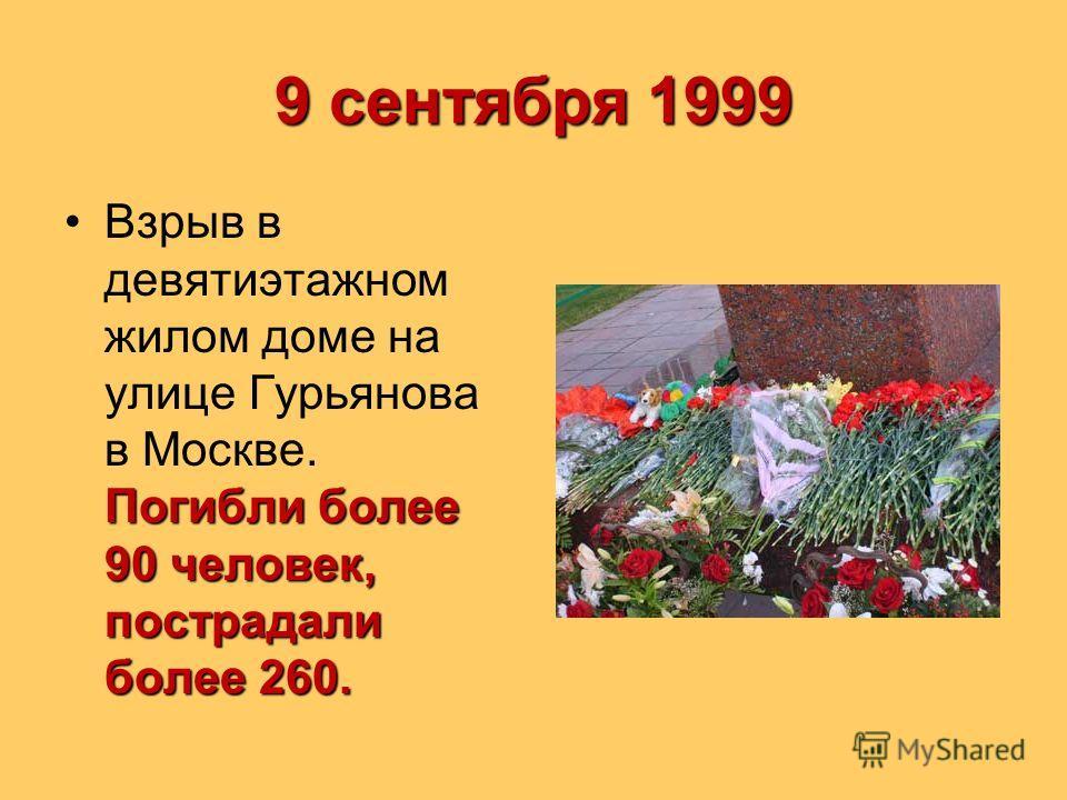 9 сентября 1999 Погибли более 90 человек, пострадали более 260.Взрыв в девятиэтажном жилом доме на улице Гурьянова в Москве. Погибли более 90 человек, пострадали более 260.