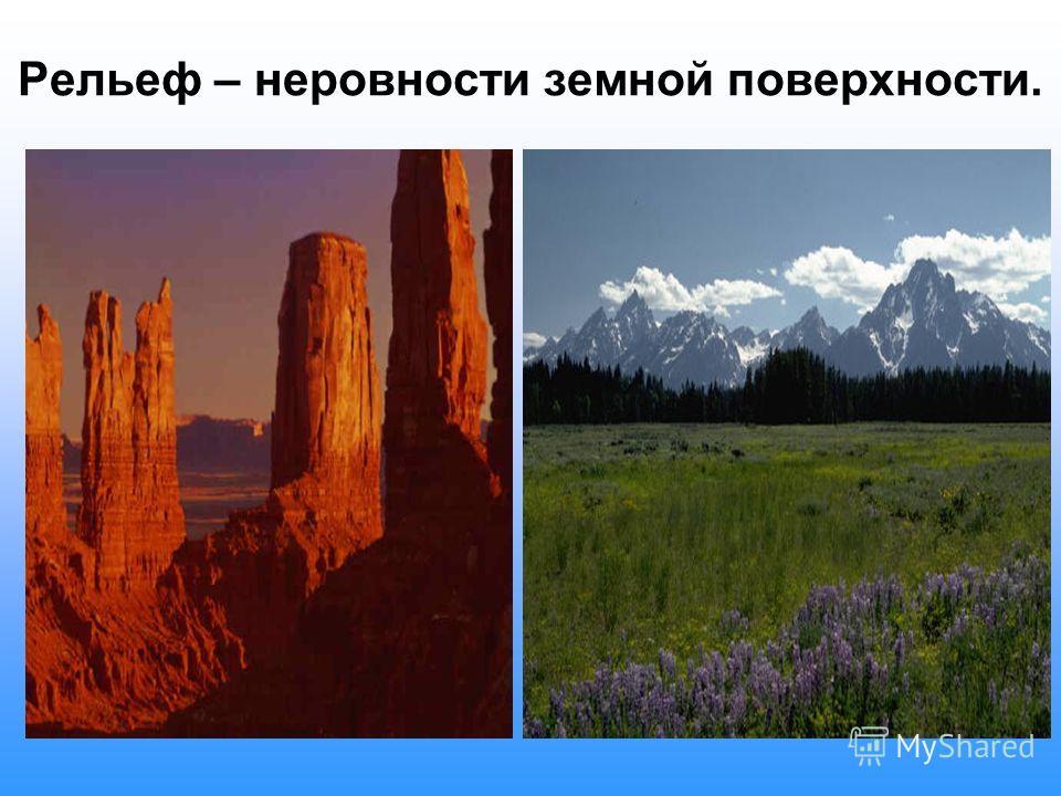 Содержание темы: 1.Рельеф. 2. Внутренние процессы в земной коре. 3. Внешние процессы на поверхности Земли. 4.Формы рельефа: а) горы б) равнины