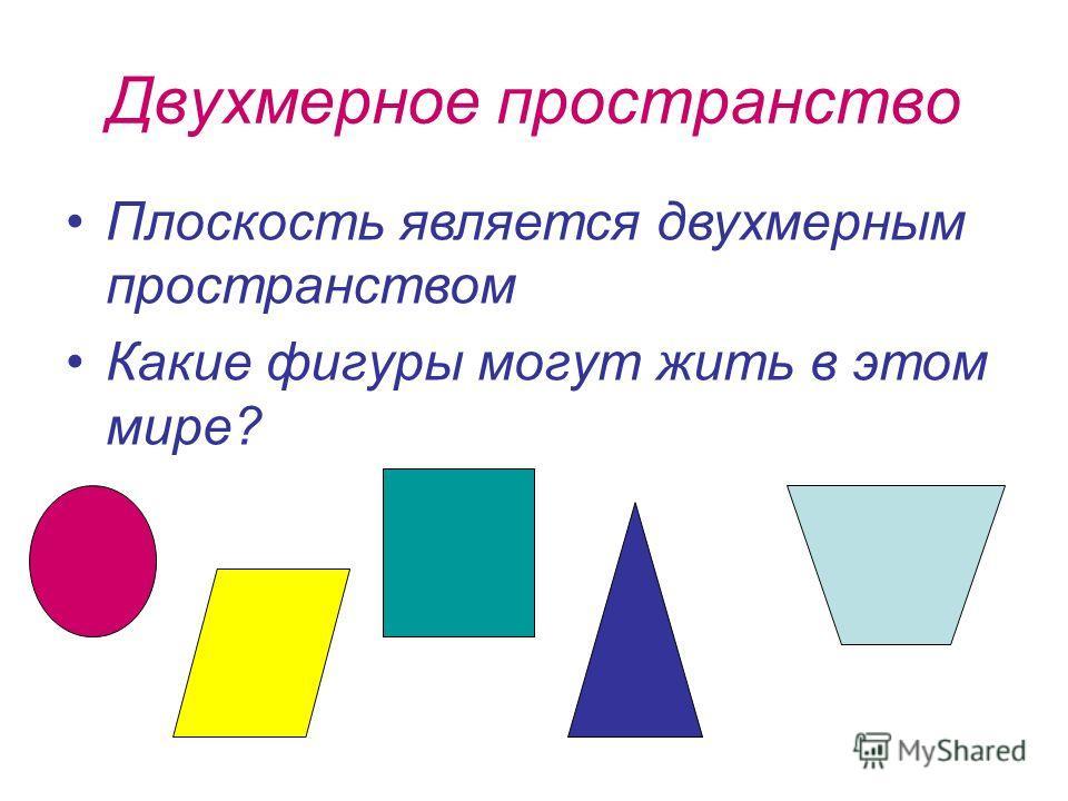 Двухмерное пространство Плоскость является двухмерным пространством Какие фигуры могут жить в этом мире?