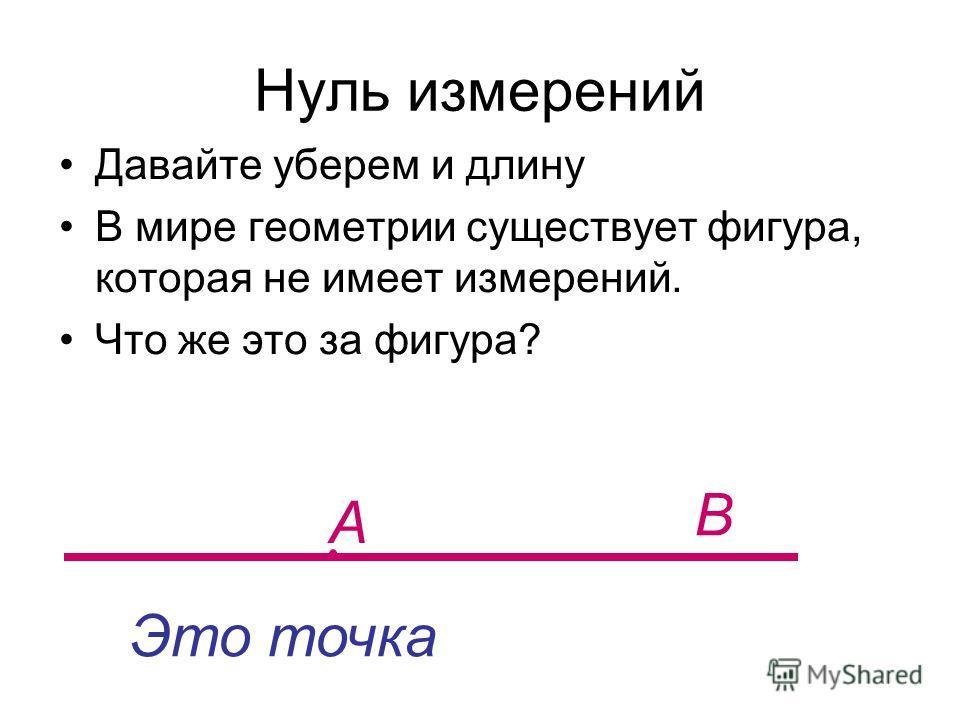 Нуль измерений Давайте уберем и длину В мире геометрии существует фигура, которая не имеет измерений. Что же это за фигура? А В Это точка