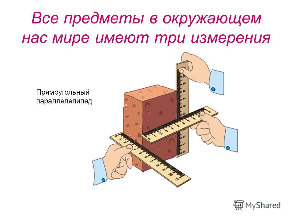 Все предметы в окружающем нас мире имеют три измерения Прямоугольный параллелепипед