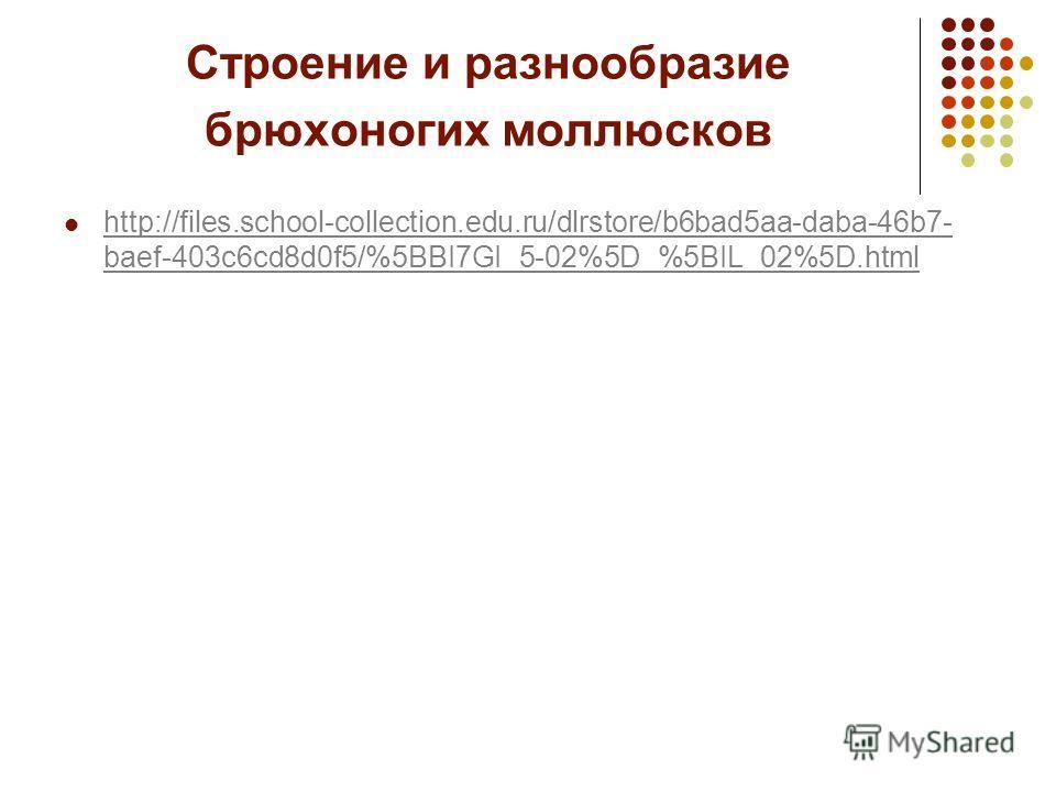 Строение и разнообразие брюхоногих моллюсков http://files.school-collection.edu.ru/dlrstore/b6bad5aa-daba-46b7- baef-403c6cd8d0f5/%5BBI7GI_5-02%5D_%5BIL_02%5D.html http://files.school-collection.edu.ru/dlrstore/b6bad5aa-daba-46b7- baef-403c6cd8d0f5/%