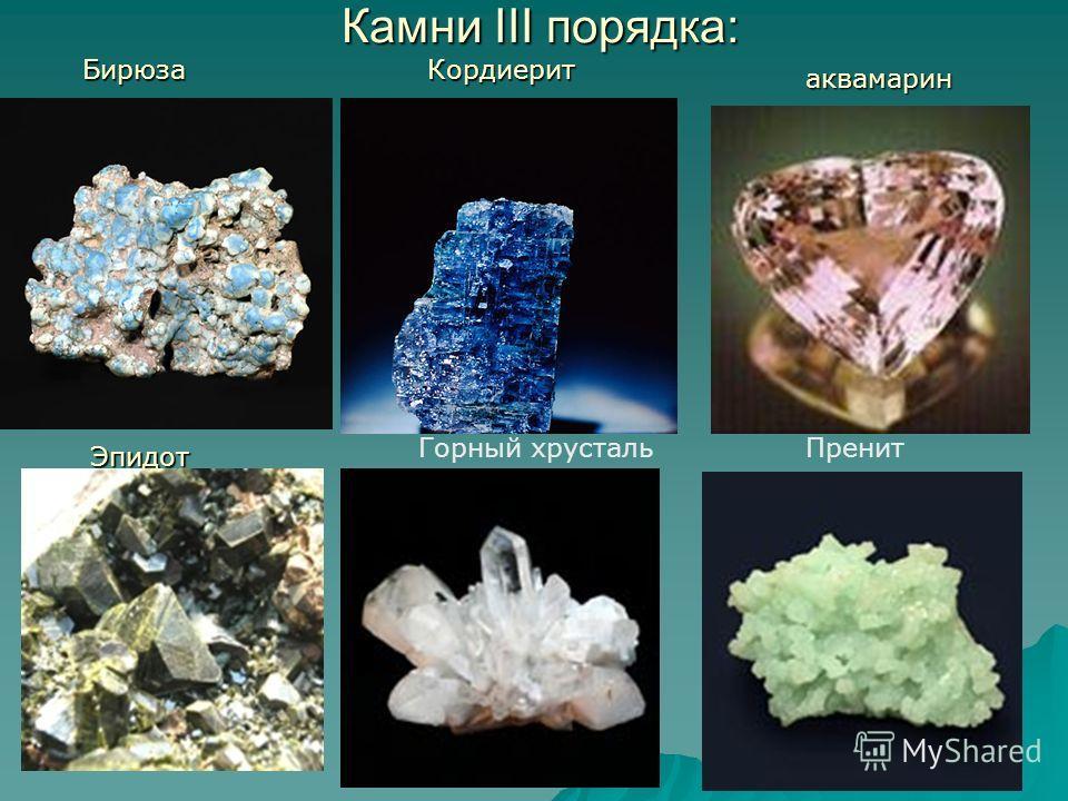 Камни III порядка: БирюзаКордиерит аквамарин Эпидот Горный хрустальПренит