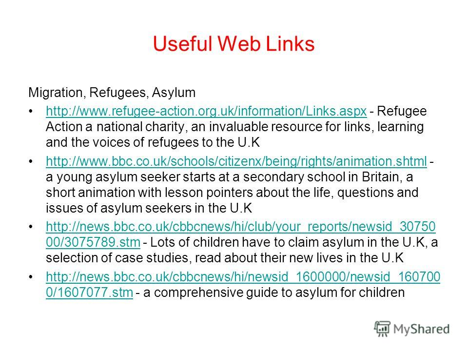 Useful Web Links Migration Histories http://www.movinghere.org.uk/galleries/histories/default.htm - a detailed resource on the migration histories of,amongst others, Carribbean, Irish, Jewish, South Asian peoples to the U.Khttp://www.movinghere.org.u