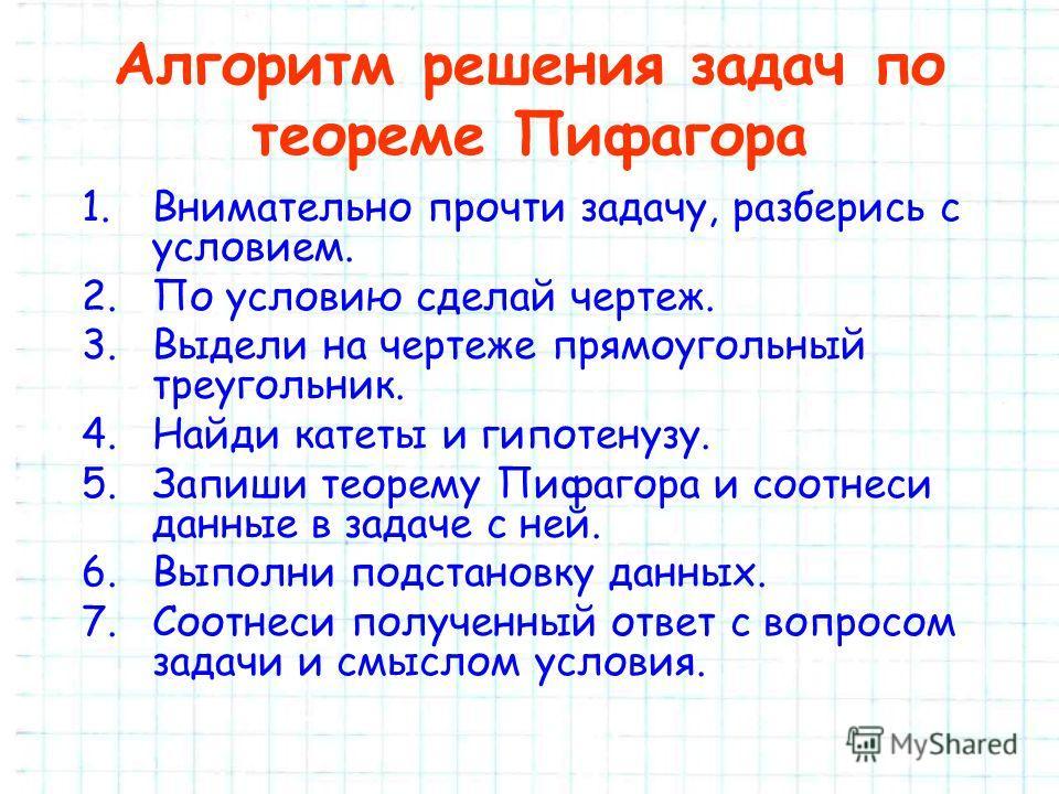 Алгоритм решения задач по теореме Пифагора 1.Внимательно прочти задачу, разберись с условием. 2.По условию сделай чертеж. 3.Выдели на чертеже прямоугольный треугольник. 4.Найди катеты и гипотенузу. 5.Запиши теорему Пифагора и соотнеси данные в задаче