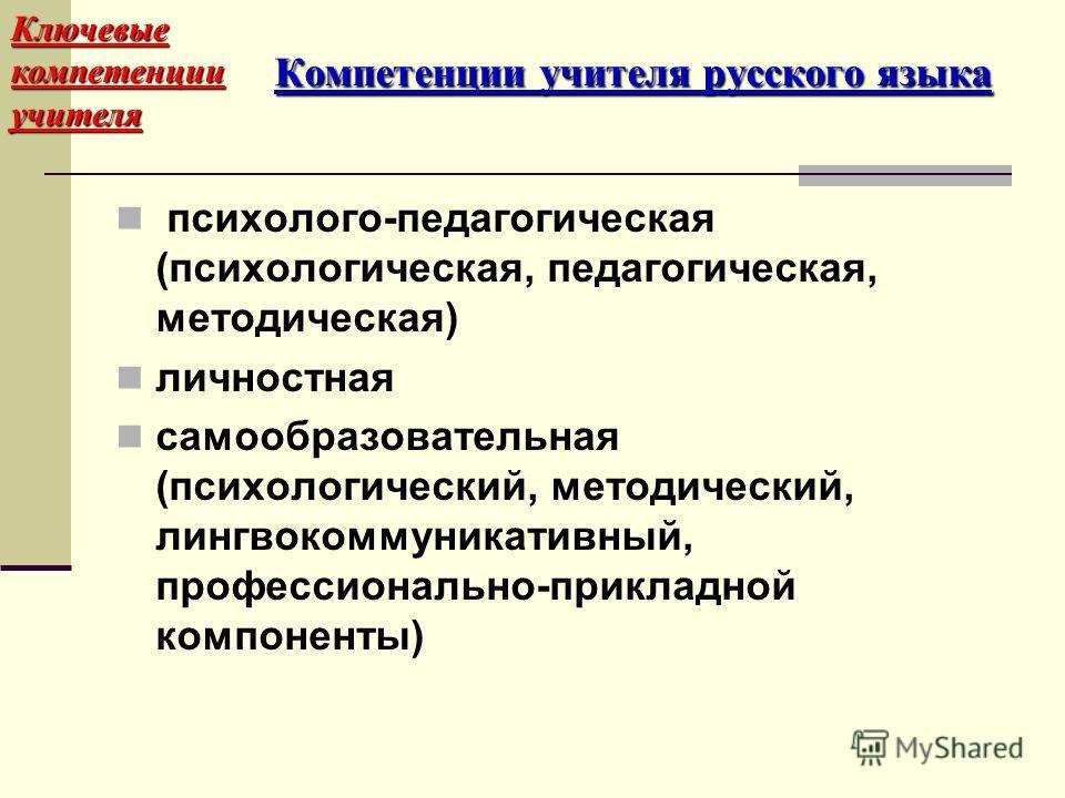 психолого-педагогическая (психологическая, педагогическая, методическая) личностная самообразовательная (психологический, методический, лингвокоммуникативный, профессионально-прикладной компоненты) Ключевые компетенции учителя Компетенции учителя рус