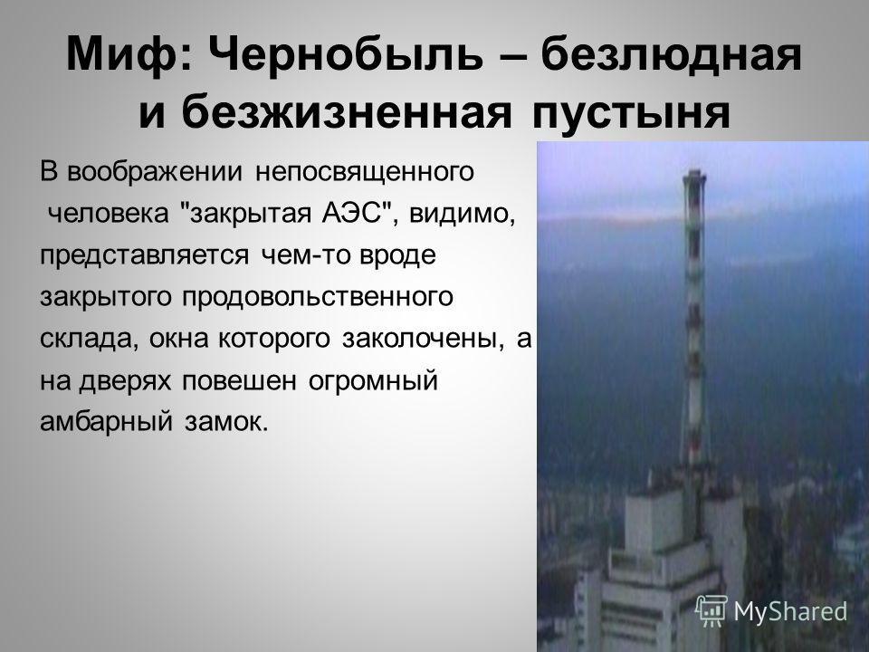 Миф: Чернобыль – безлюдная и безжизненная пустыня В воображении непосвященного человека закрытая АЭС, видимо, представляется чем-то вроде закрытого продовольственного склада, окна которого заколочены, а на дверях повешен огромный амбарный замок.