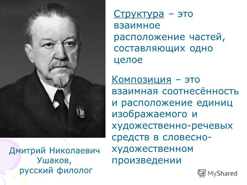Дмитрий Николаевич Ушаков, русский филолог Структура – это взаимное расположение частей, составляющих одно целое Композиция – это взаимная соотнесённость и расположение единиц изображаемого и художественно-речевых средств в словесно- художественном п