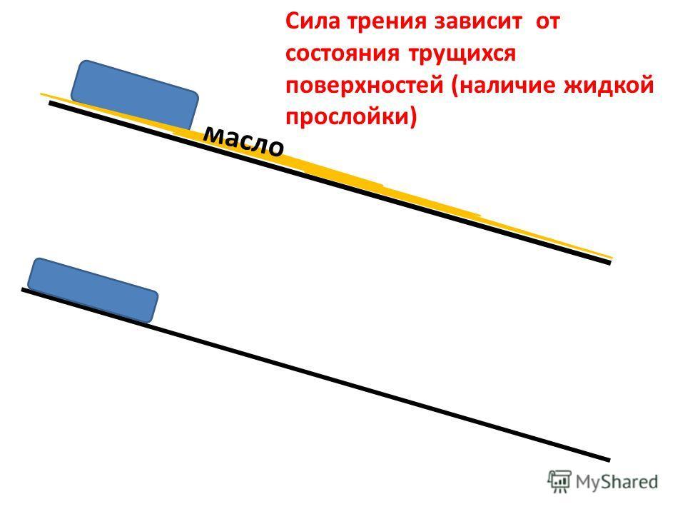Сила трения зависит от состояния трущихся поверхностей (наличие жидкой прослойки) масло