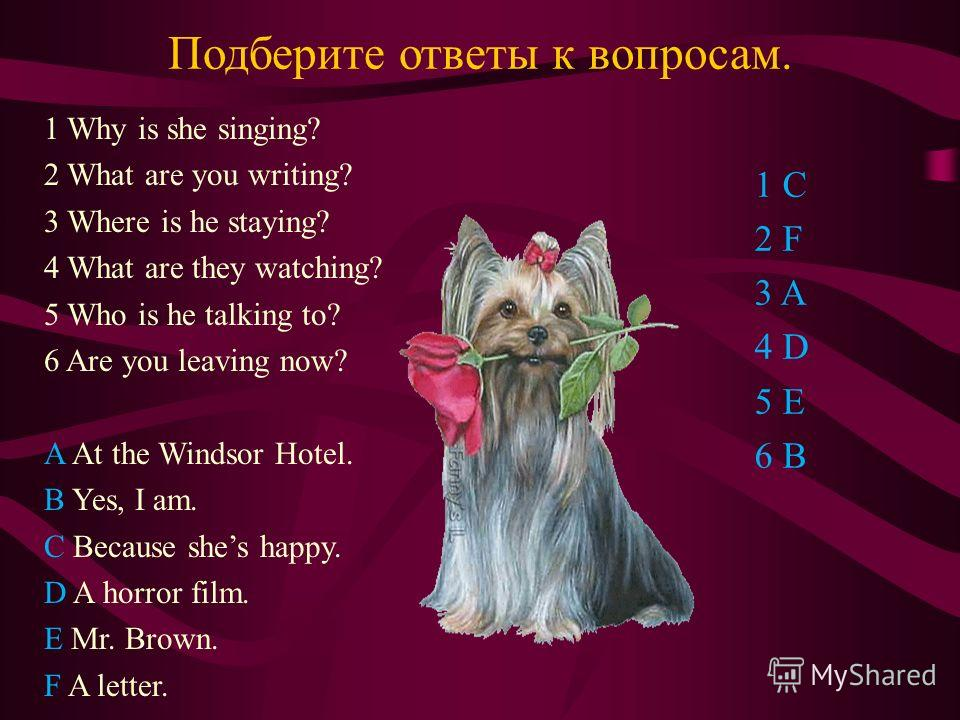Подберите ответы к вопросам. 1 Why is she singing? 2 What are you writing? 3 Where is he staying? 4 What are they watching? 5 Who is he talking to? 6 Are you leaving now? A At the Windsor Hotel. B Yes, I am. C Because shes happy. D A horror film. E M