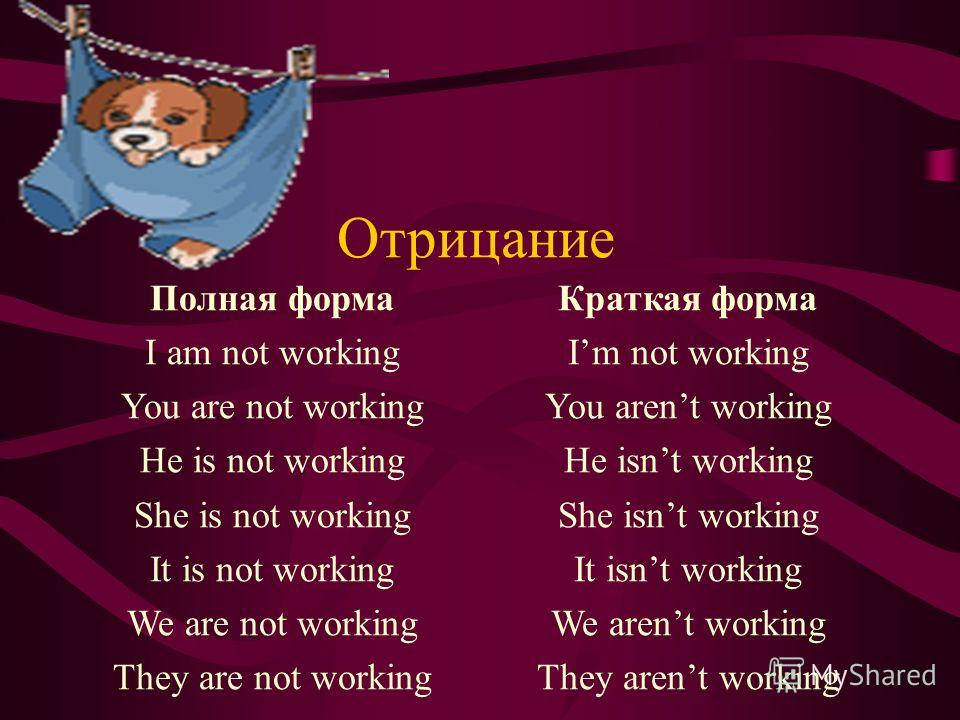 Отрицание Полная форма I am not working You are not working He is not working She is not working It is not working We are not working They are not working Краткая форма Im not working You arent working He isnt working She isnt working It isnt working