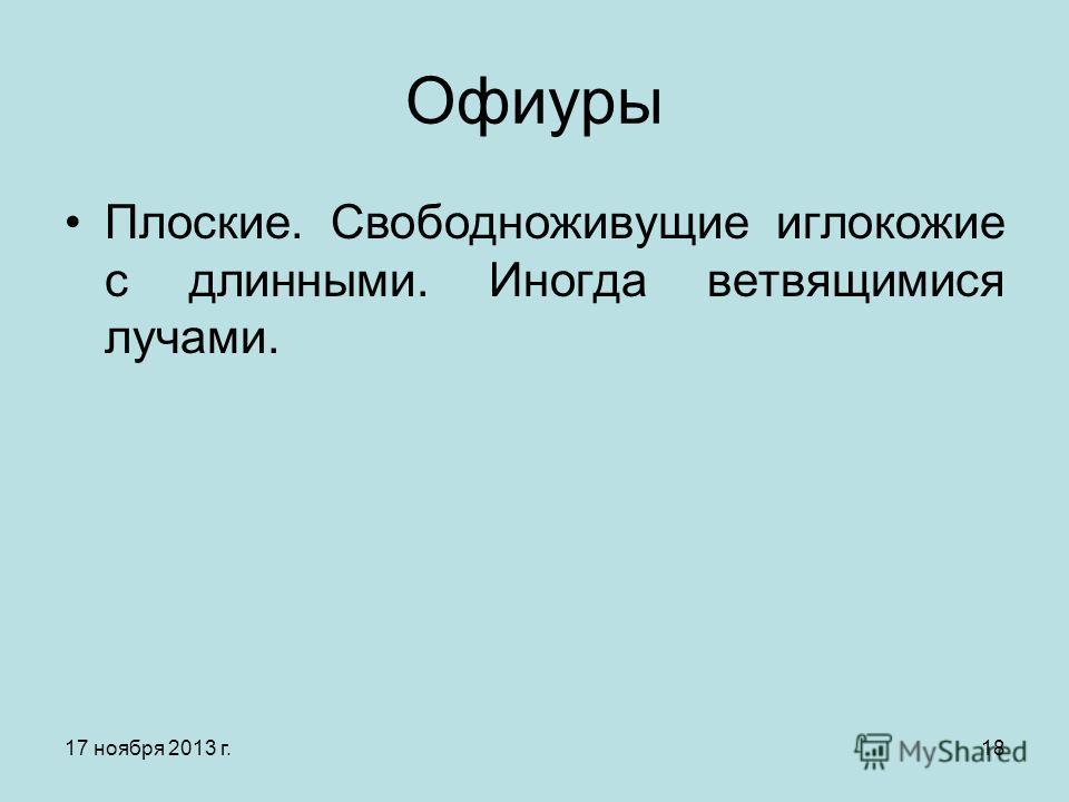 17 ноября 2013 г.18 Офиуры Плоские. Свободноживущие иглокожие с длинными. Иногда ветвящимися лучами.